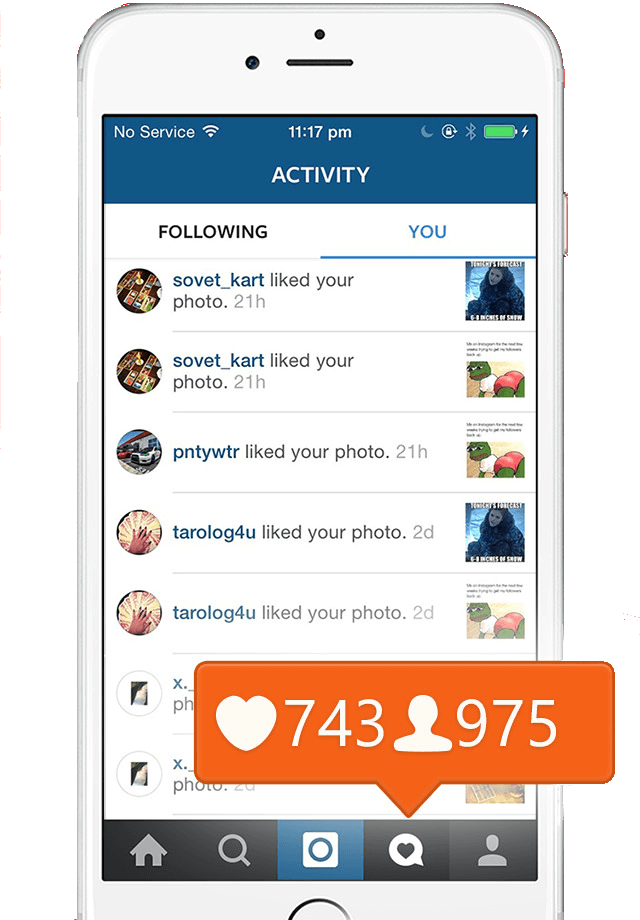 With our service you will get more Instagram notifications on your phone